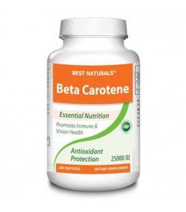 1 Beta Carotene 25000 IU 180 Softgels by Best Naturals - Provitamin A - Essential Nutrition