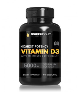 Vitamin D3 (5000iu) 360 mini-capsules Enhanced with Organic Coconut Oil for Better AbsorptionMade In USA