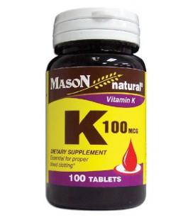 Mason Vitamins Vitamin K 100 mcg Tablets, 100-Count Bottles (Pack of 4)
