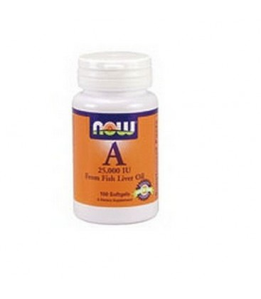 NOW Foods Vitamin A, 100 Softgels / 25,000 Iu (Pack of 4)