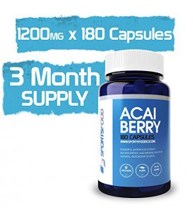 Acai Berry 1200mg x 180 Caps, 100% Pure High Potency, Supports Fat Metabolism, Natural Flavonoids & Antioxidants, 3 Month Suppl