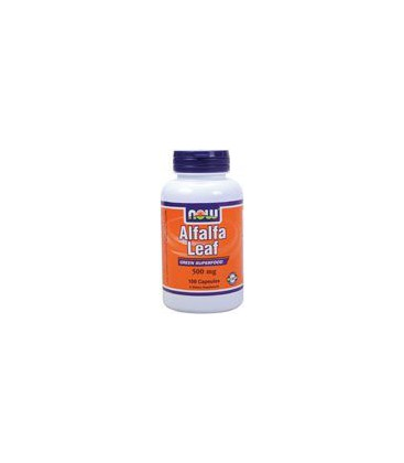 Now Foods Alfalfa Leaf, 500 mg , 100  Capsules, (Pack of 2)