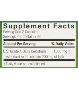Genceutic Naturals US Grade A colostrum 1000 mg, 120-comte