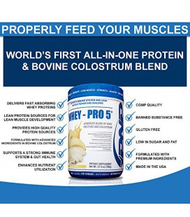 WHEY PRO-5 - Advanced Whey Protein et colostrum Blend - Premium Whey Protein, le colostrum bovin et des enzymes digestives - 78