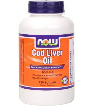 Now Foods Cod Liver Oil 2x 2500/270 A/D Soft-gels, 250-Count