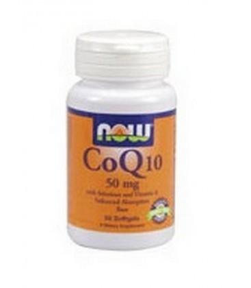 NOW Foods Coq10 50mg + Vit E, 50 Softgels