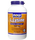 Now Foods L-Lysine, 250 tablets / 500mg (Pack of 2)