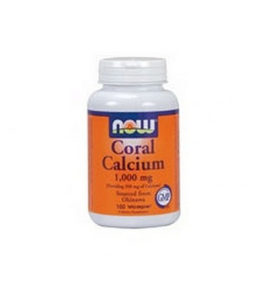 NOW Foods Coral Calcium, 100 Capsules / 1000mg (Pack of 2)