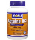 NOW Foods Betaine HCl 648 mg Caps, 120 ct (Pack of 3)